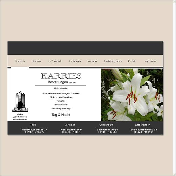 Website von Bestattungshaus Karries Inh. G. Neuh�user